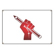 Pencil in a Raised Fist Banner