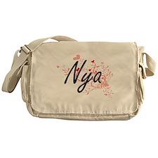 Nya Artistic Name Design with Hearts Messenger Bag