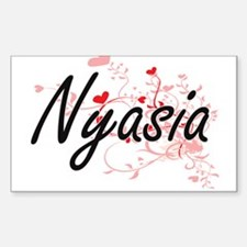 Nyasia Artistic Name Design with Hearts Decal