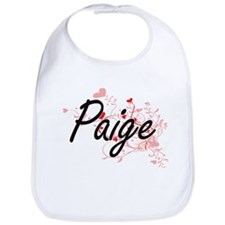 Paige Artistic Name Design with Hearts Bib