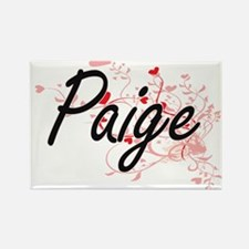Paige Artistic Name Design with Hearts Magnets