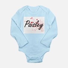 Paisley Artistic Name Design with Hearts Body Suit