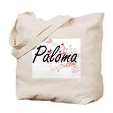 Paloma Artistic Name Design with Hearts Tote Bag