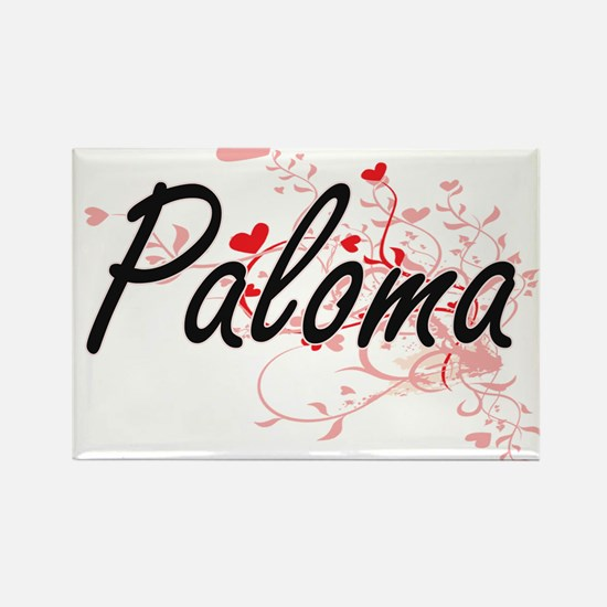 Paloma Artistic Name Design with Hearts Magnets