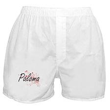 Paloma Artistic Name Design with Hear Boxer Shorts