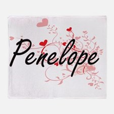 Penelope Artistic Name Design with H Throw Blanket