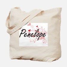 Penelope Artistic Name Design with Hearts Tote Bag