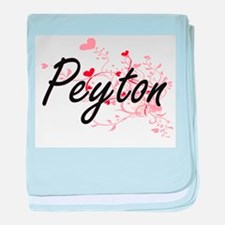 Peyton Artistic Name Design with Hear baby blanket