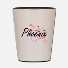 Phoenix Artistic Name Design with Heart Shot Glass