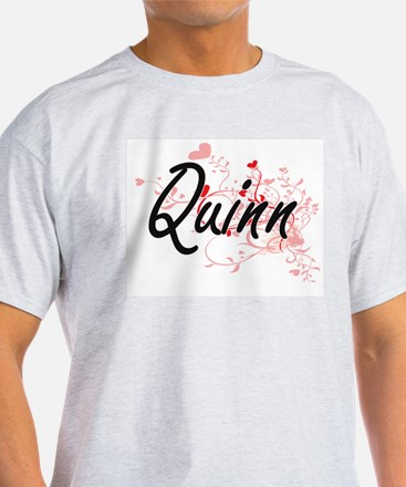 Quinn Artistic Name Design with Hearts T-Shirt