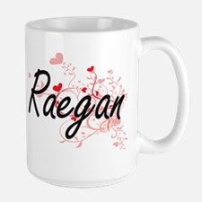 Raegan Artistic Name Design with Hearts Mugs