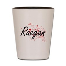 Raegan Artistic Name Design with Hearts Shot Glass