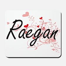Raegan Artistic Name Design with Hearts Mousepad