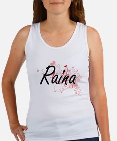 Raina Artistic Name Design with Hearts Tank Top