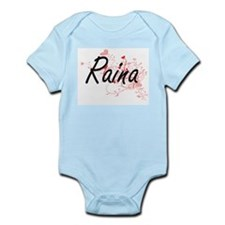 Raina Artistic Name Design with Hearts Body Suit