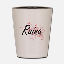 Raina Artistic Name Design with Hearts Shot Glass