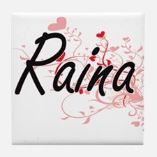 Raina Artistic Name Design with Heart Tile Coaster