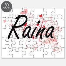 Raina Artistic Name Design with Hearts Puzzle