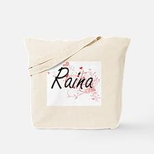 Raina Artistic Name Design with Hearts Tote Bag