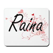 Raina Artistic Name Design with Hearts Mousepad