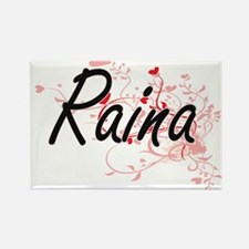 Raina Artistic Name Design with Hearts Magnets