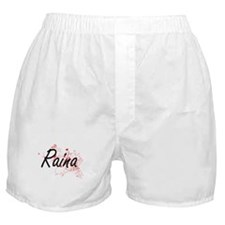 Raina Artistic Name Design with Heart Boxer Shorts