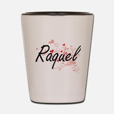 Raquel Artistic Name Design with Hearts Shot Glass