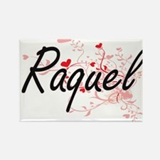 Raquel Artistic Name Design with Hearts Magnets
