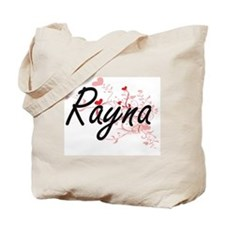 Rayna Artistic Name Design with Hearts Tote Bag