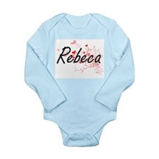 Rebeca Artistic Name Design with Hearts Body Suit
