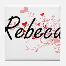 Rebeca Artistic Name Design with Hear Tile Coaster