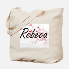 Rebeca Artistic Name Design with Hearts Tote Bag
