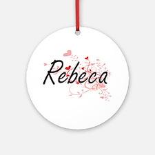 Rebeca Artistic Name Design with Ornament (Round)