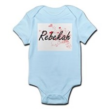 Rebekah Artistic Name Design with Hearts Body Suit