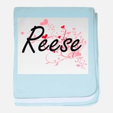 Reese Artistic Name Design with Heart baby blanket
