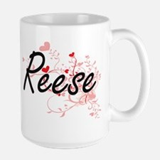 Reese Artistic Name Design with Hearts Mugs