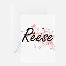Reese Artistic Name Design with Hea Greeting Cards
