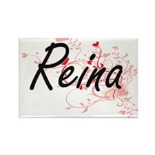 Reina Artistic Name Design with Hearts Magnets