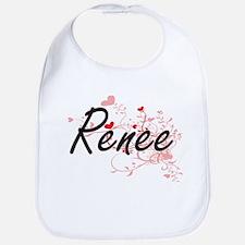 Renee Artistic Name Design with Hearts Bib