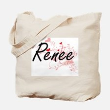 Renee Artistic Name Design with Hearts Tote Bag