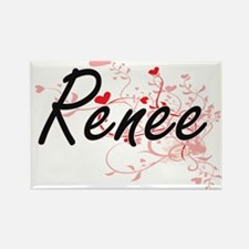 Renee Artistic Name Design with Hearts Magnets