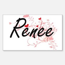 Renee Artistic Name Design with Hearts Decal