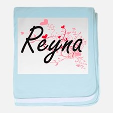 Reyna Artistic Name Design with Heart baby blanket