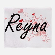 Reyna Artistic Name Design with Hear Throw Blanket