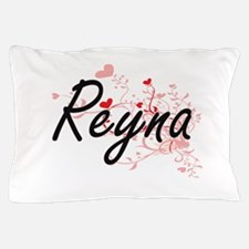 Reyna Artistic Name Design with Hearts Pillow Case