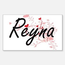 Reyna Artistic Name Design with Hearts Decal