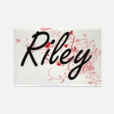 Riley Artistic Name Design with Hearts Magnets