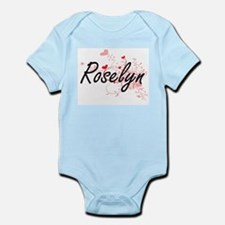 Roselyn Artistic Name Design with Hearts Body Suit