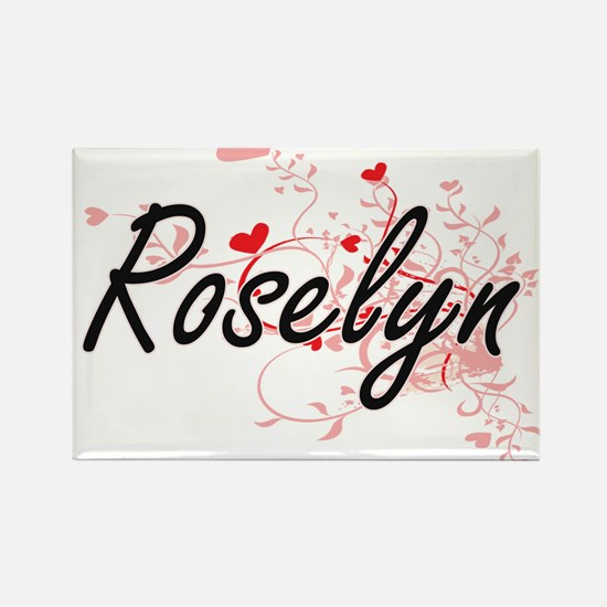 Roselyn Artistic Name Design with Hearts Magnets