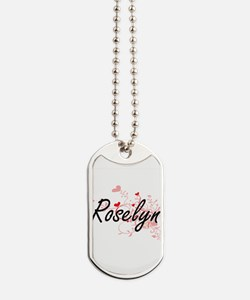 Roselyn Artistic Name Design with Hearts Dog Tags